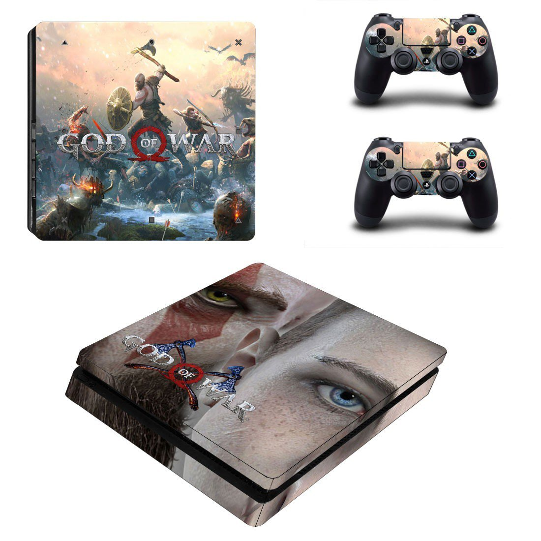 God of War 4 decal skin sticker for PS4 Slim console and controllers