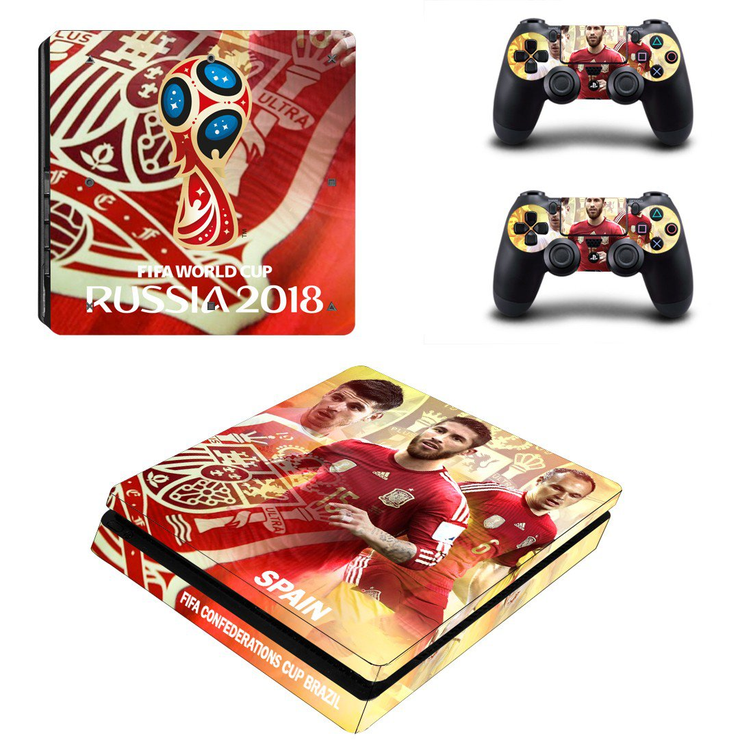 2018 FIFA World Cup Spain decal skin sticker for PS4 Slim console and controllers