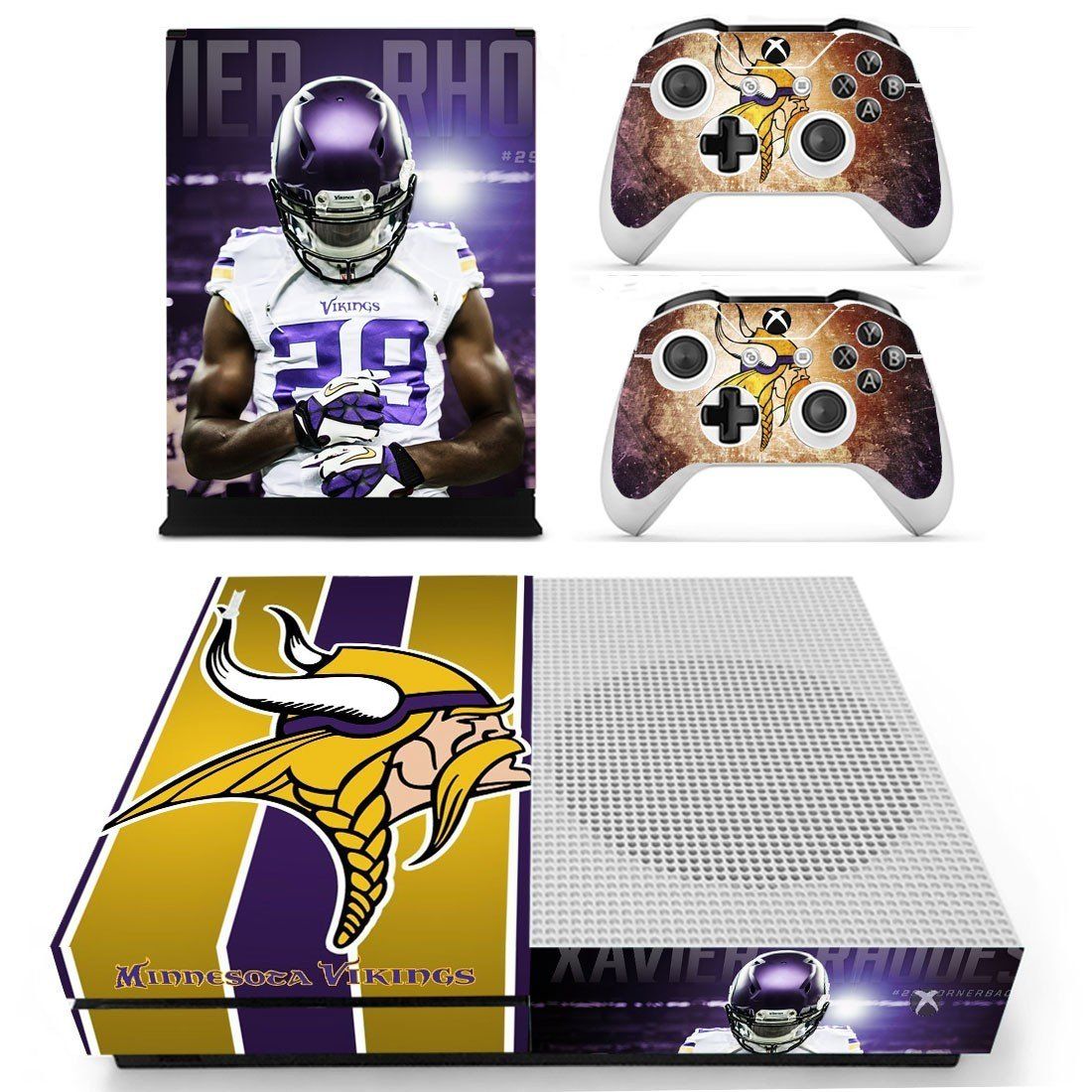 Minnesota Vikings decal skin sticker for Xbox One S console and controllers