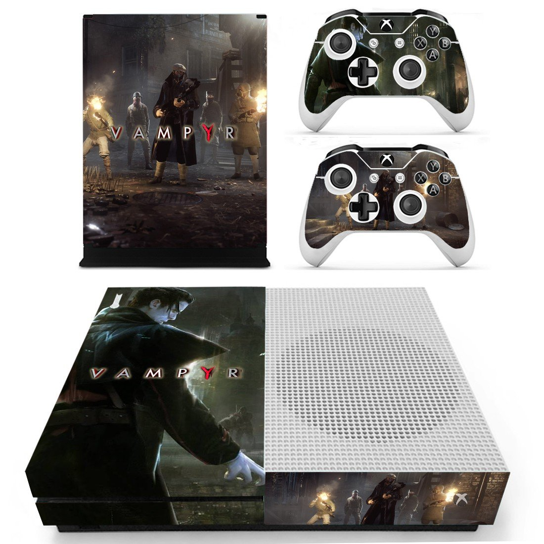 Vampyr decal skin sticker for Xbox One S console and controllers