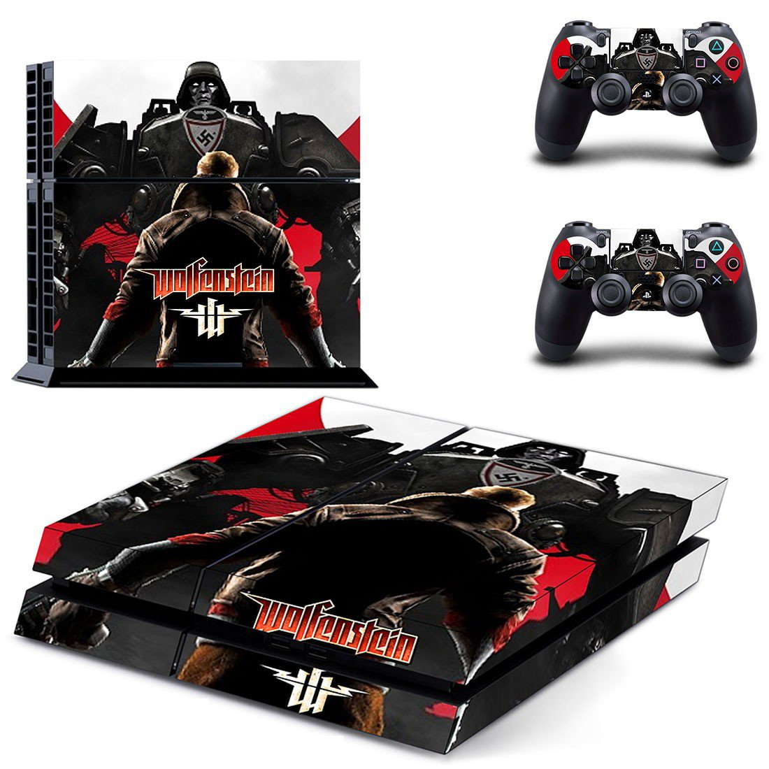 Wolfenstein decal skin sticker for PS4 console and controllers