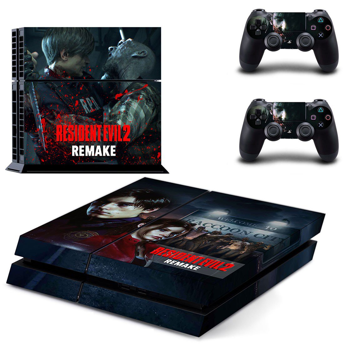 Resident Evil 2 remake decal skin sticker for PS4 console and controllers