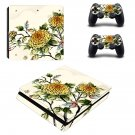 Flower Wallpaper decal skin sticker for PS4 Slim console and controllers