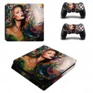 Lady Wallpaper decal skin sticker for PS4 Slim console and controllers