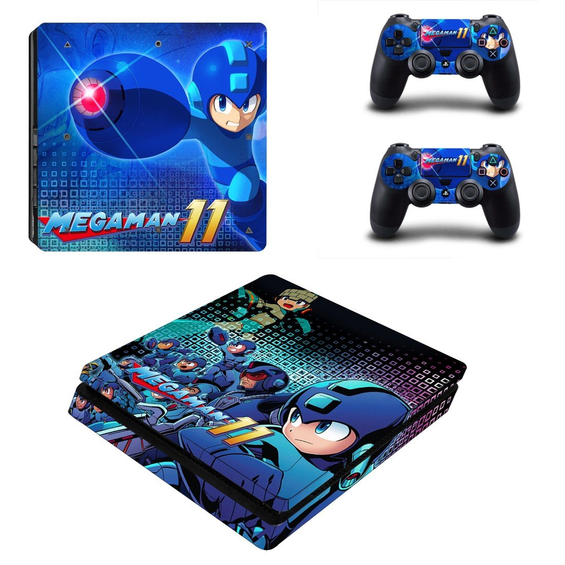 Mega Man 11 decal skin sticker for PS4 Slim console and controllers