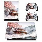 Chinese house decal skin sticker for Xbox One X console and controllers