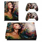 Lady Wallpaper decal skin sticker for Xbox One X console and controllers