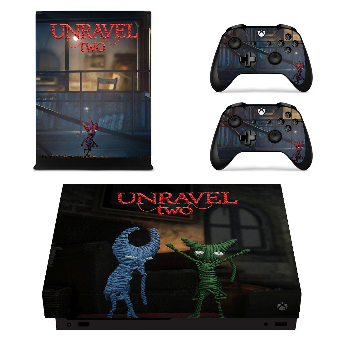 Unravel Two decal skin sticker for Xbox One X console and controllers