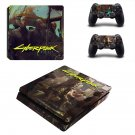 Cyberpunk decal skin sticker for PS4 Slim console and controllers