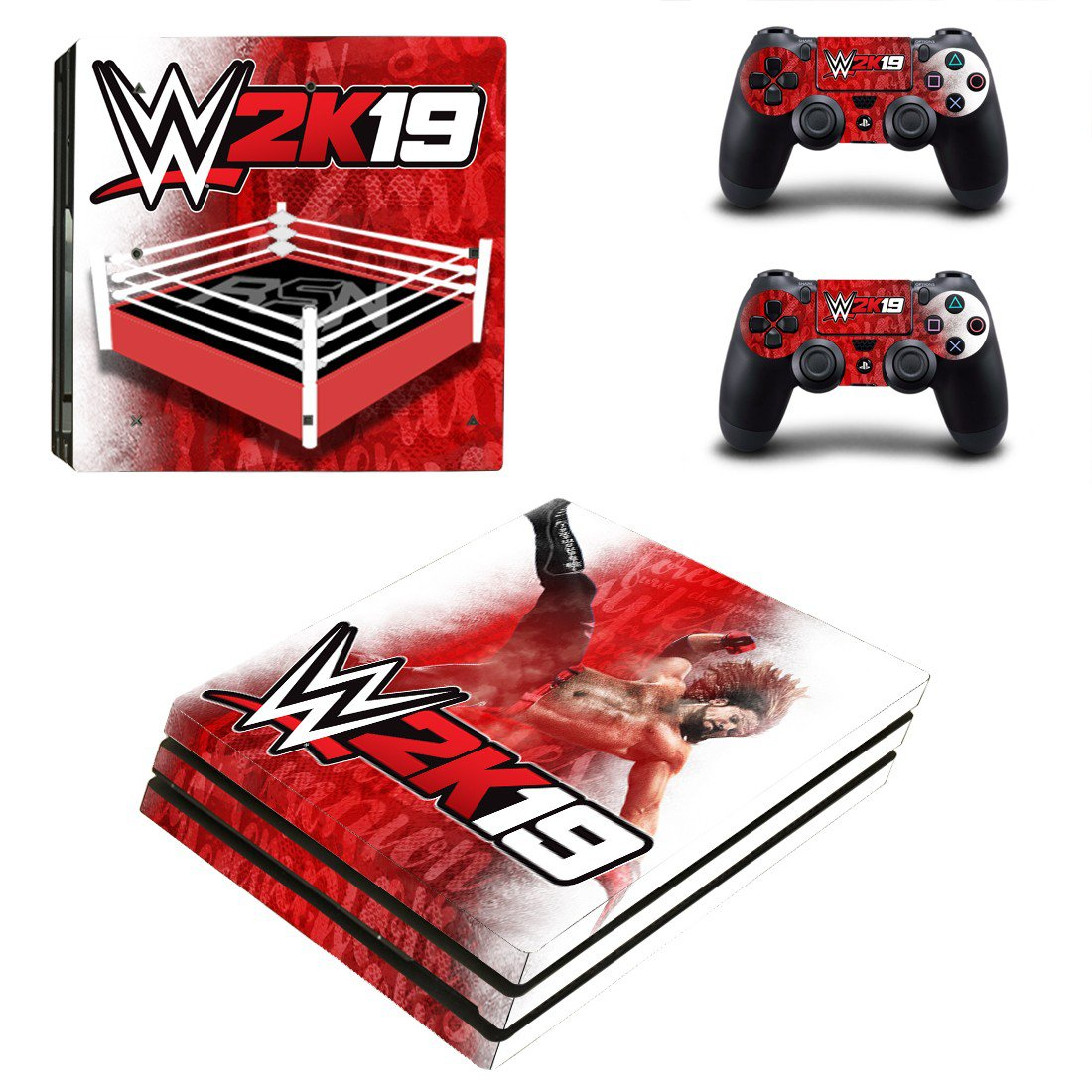 WWE 2K19 decal skin sticker for PS4 Pro console and controllers