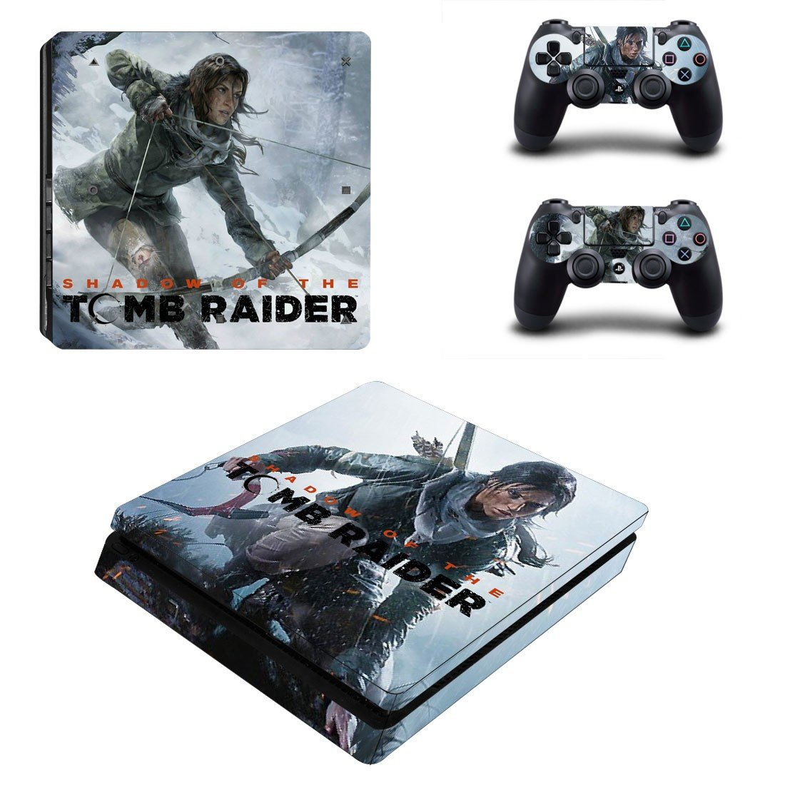 Tomb Raider decal skin sticker for PS4 Slim console and controllers