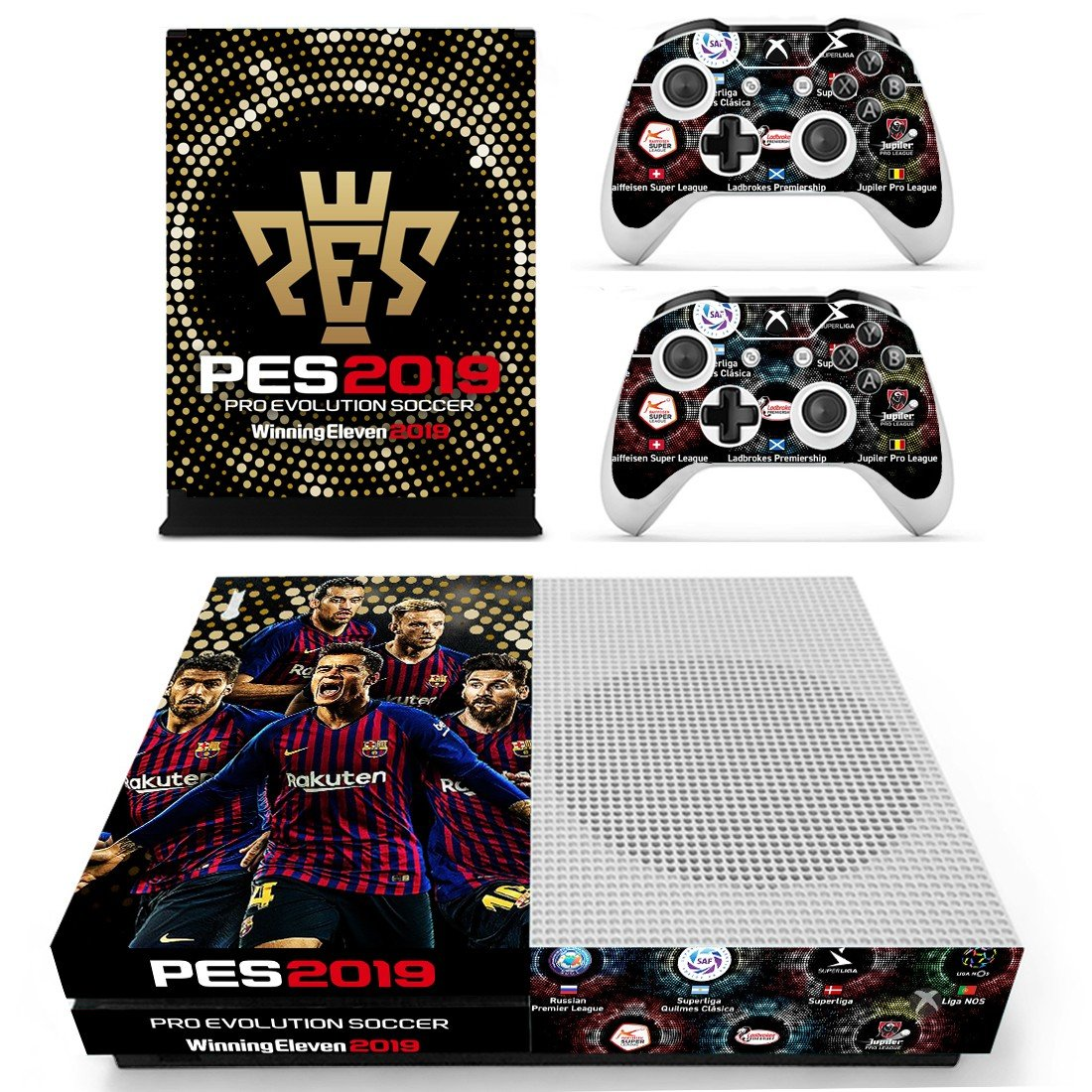PES 2019 decal skin sticker for Xbox One S console and controllers