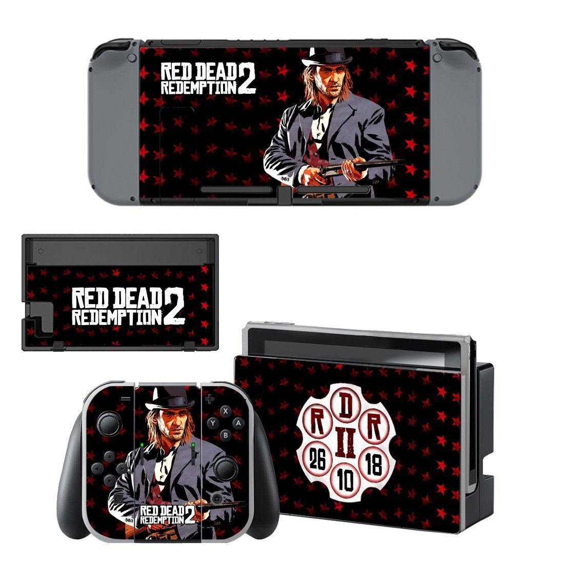 Red Dead Redemption 2 decal skin sticker for Nintendo Switch console and controllers