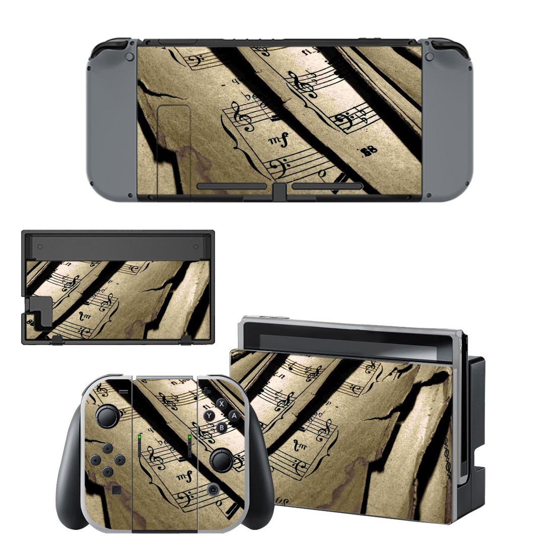 Music sheet decal skin sticker for Nintendo Switch console and controllers