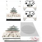 Chinese architecture decal skin sticker for Xbox One S console and controllers