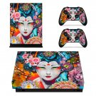 Floral girl decal skin sticker for Xbox One X console and controllers