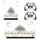 Chinese architecture decal skin sticker for Xbox One X console and controllers