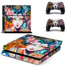 Floral girl decal skin sticker for PS4 console and controllers