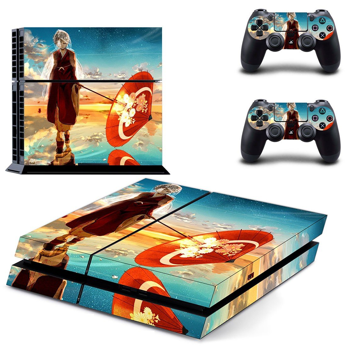 Anime water umbrella decal skin sticker for PS4 console and controllers