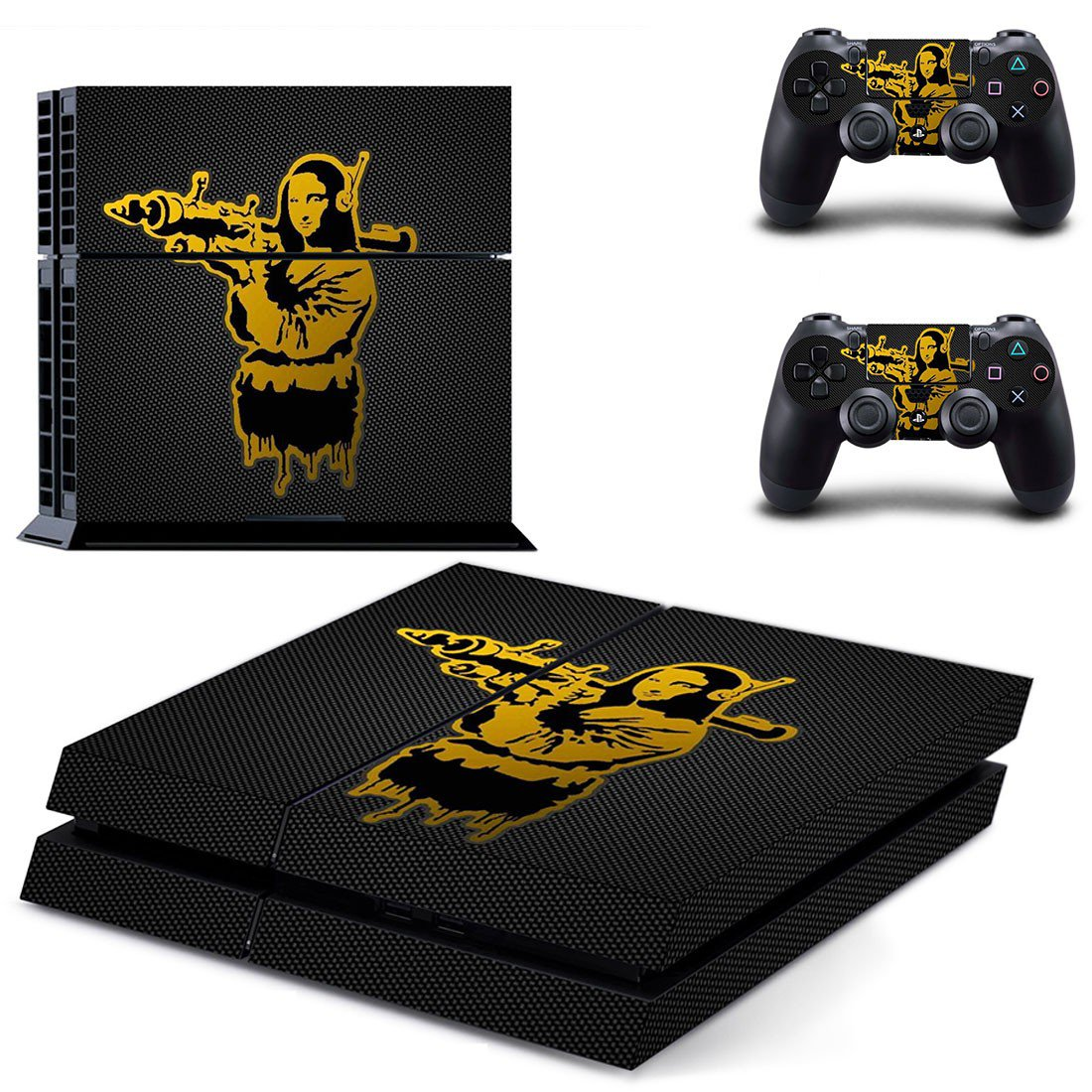 Mona lisa with bazooka decal skin sticker for PS4 console and controllers