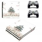 Chinese architecture decal skin sticker for PS4 Pro console and controllers