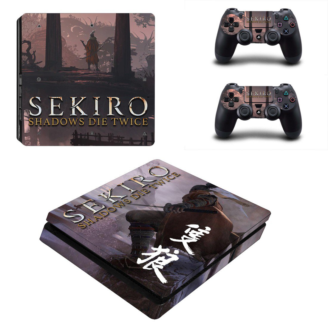 Sekiro decal skin sticker for PS4 Slim console and controllers