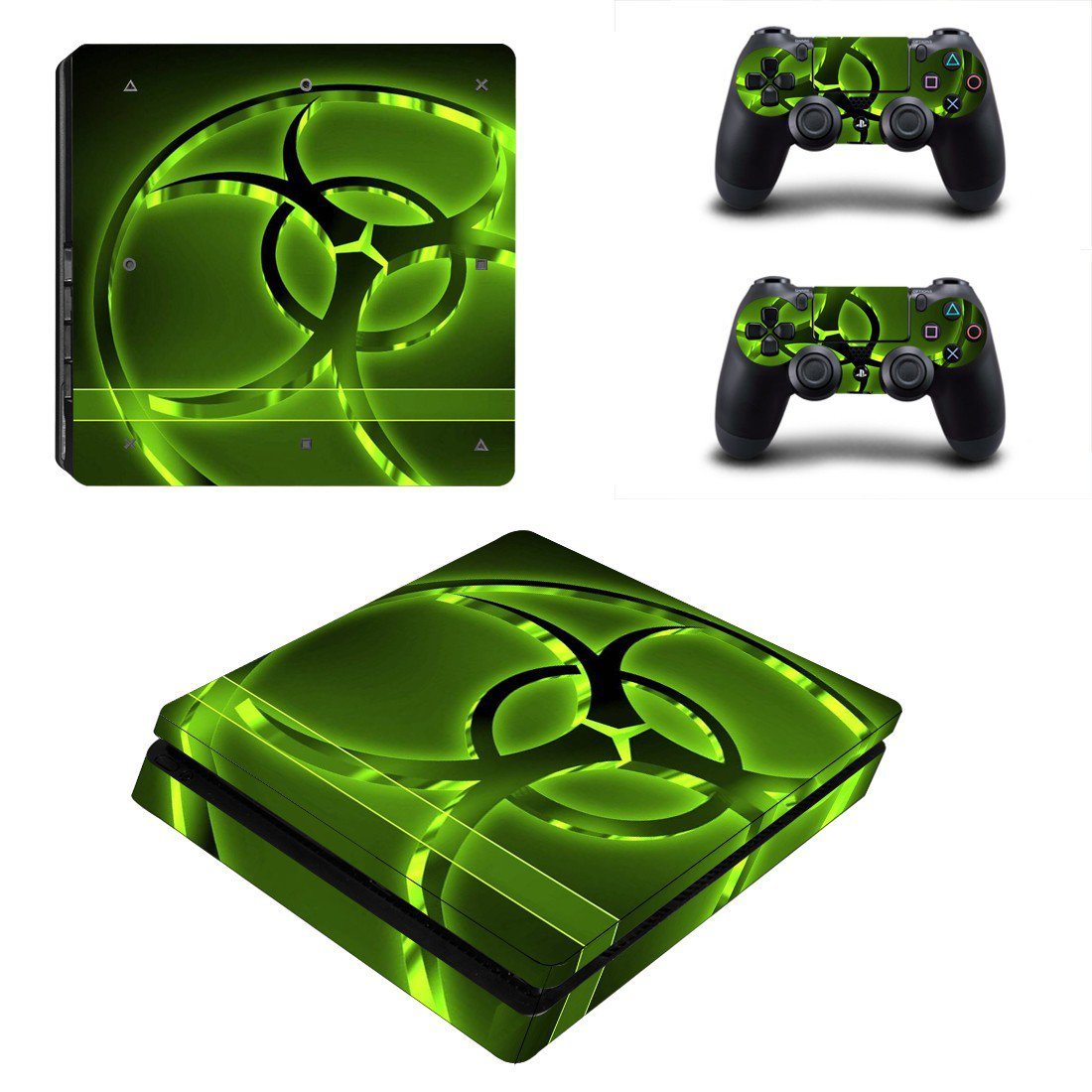 Biohazard decal skin sticker for PS4 Slim console and controllers