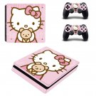 Hello Kitty decal skin sticker for PS4 Slim console and controllers