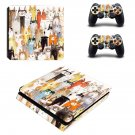 Cat face decal skin sticker for PS4 Slim console and controllers