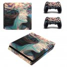 Floral lady decal skin sticker for PS4 Slim console and controllers