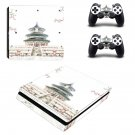 Chinese architecture decal skin sticker for PS4 Slim console and controllers