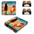 Anime water umbrella decal skin sticker for PS4 Slim console and controllers