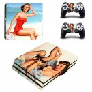 Vintage American girl decal skin sticker for PS4 Pro console and controllers