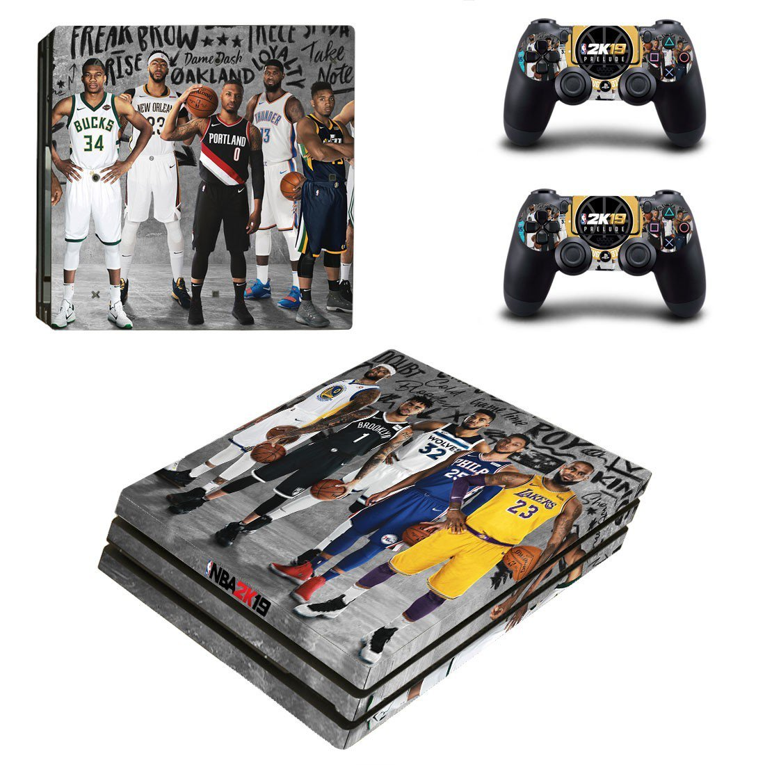 NBA 2K19 decal skin sticker for PS4 Pro console and controllers