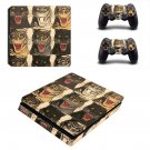 Tiger face decal skin sticker for PS4 Slim console and controllers