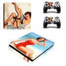 Vintage American girl decal skin sticker for PS4 Slim console and controllers