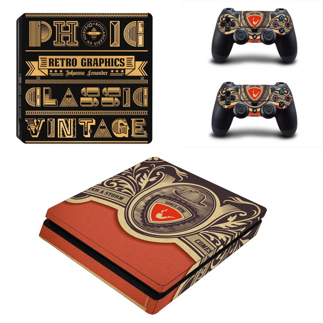 Retro Graphics decal skin sticker for PS4 Slim console and controllers