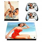 Vintage American girl decal skin sticker for Xbox One X console and controllers