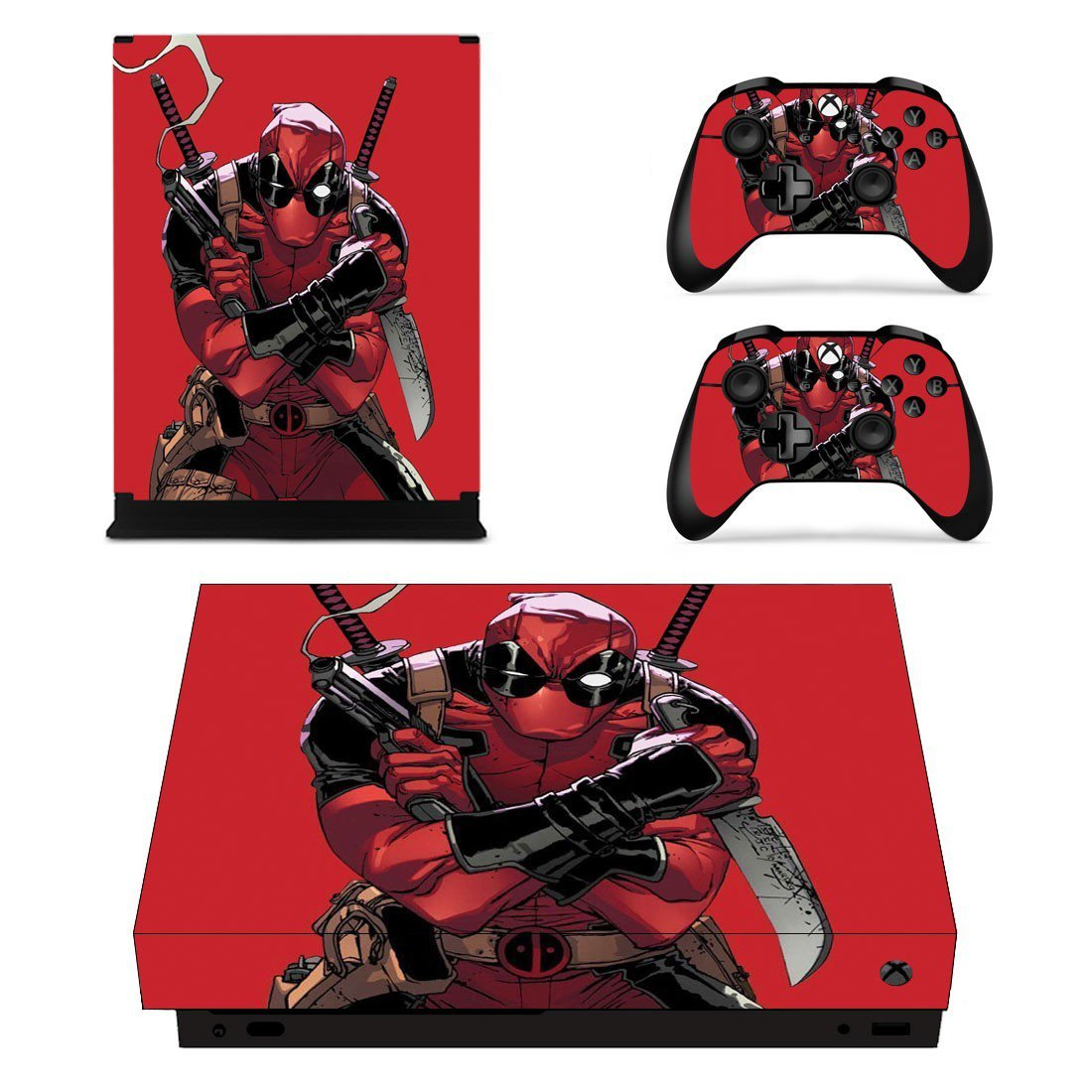 Deadpool 2 decal skin sticker for Xbox One X console and controllers