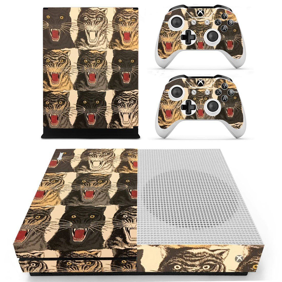 Tiger face decal skin sticker for Xbox One S console and controllers