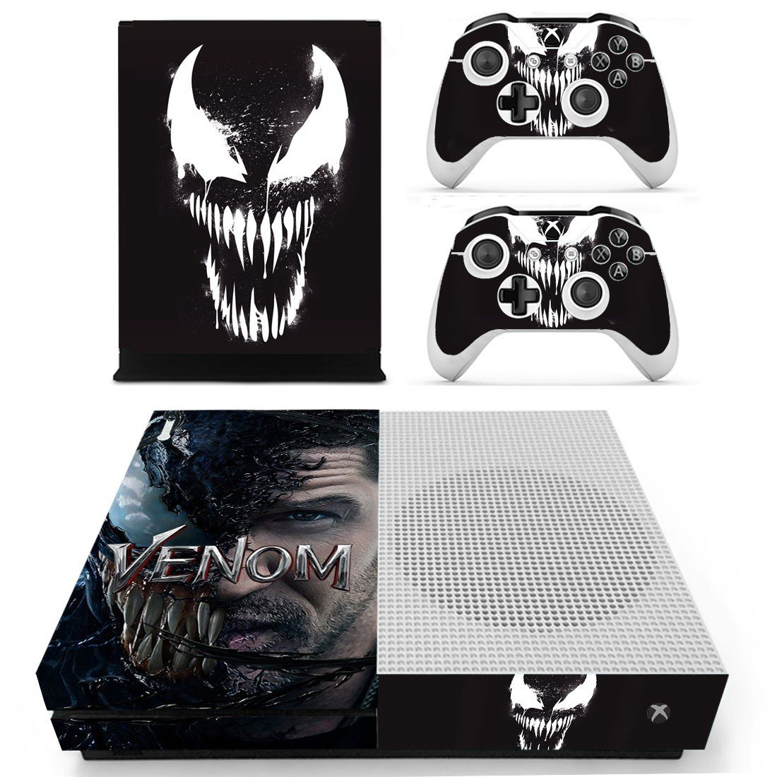Venom decal skin sticker for Xbox One S console and controllers