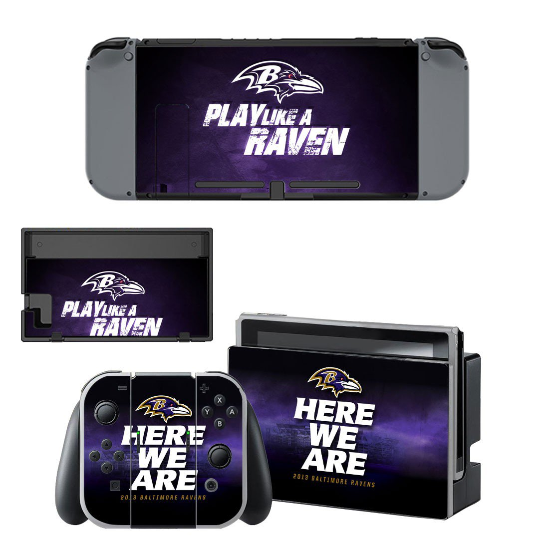 Baltimore Ravens decal skin sticker for Nintendo Switch console and controllers