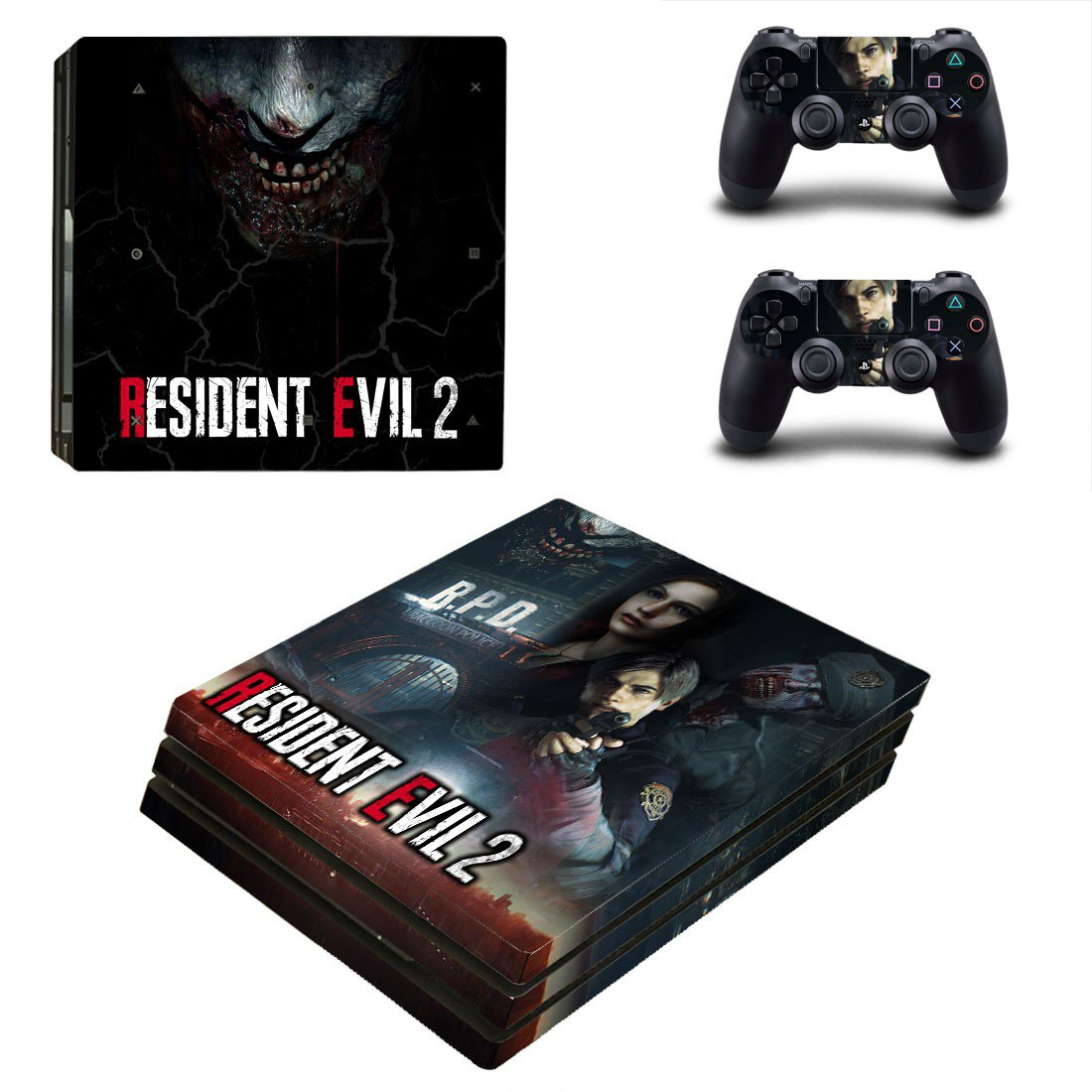 Resident Evil 2 decal skin sticker for PS4 Pro console and controllers