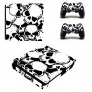 White Skulls decal skin sticker for PS4 Slim console and controllers