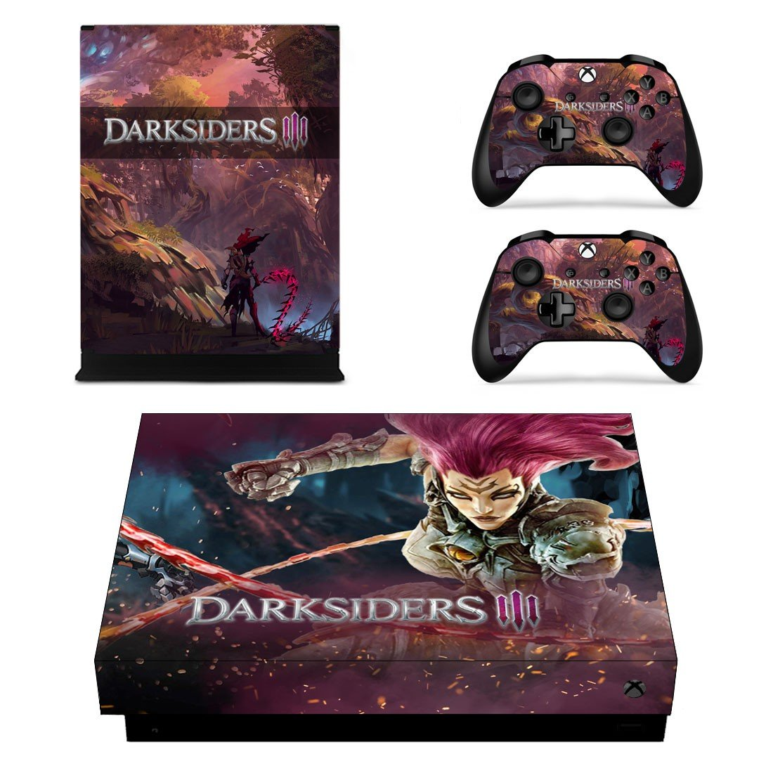 Darksiders 3 decal skin sticker for Xbox One X console and controllers