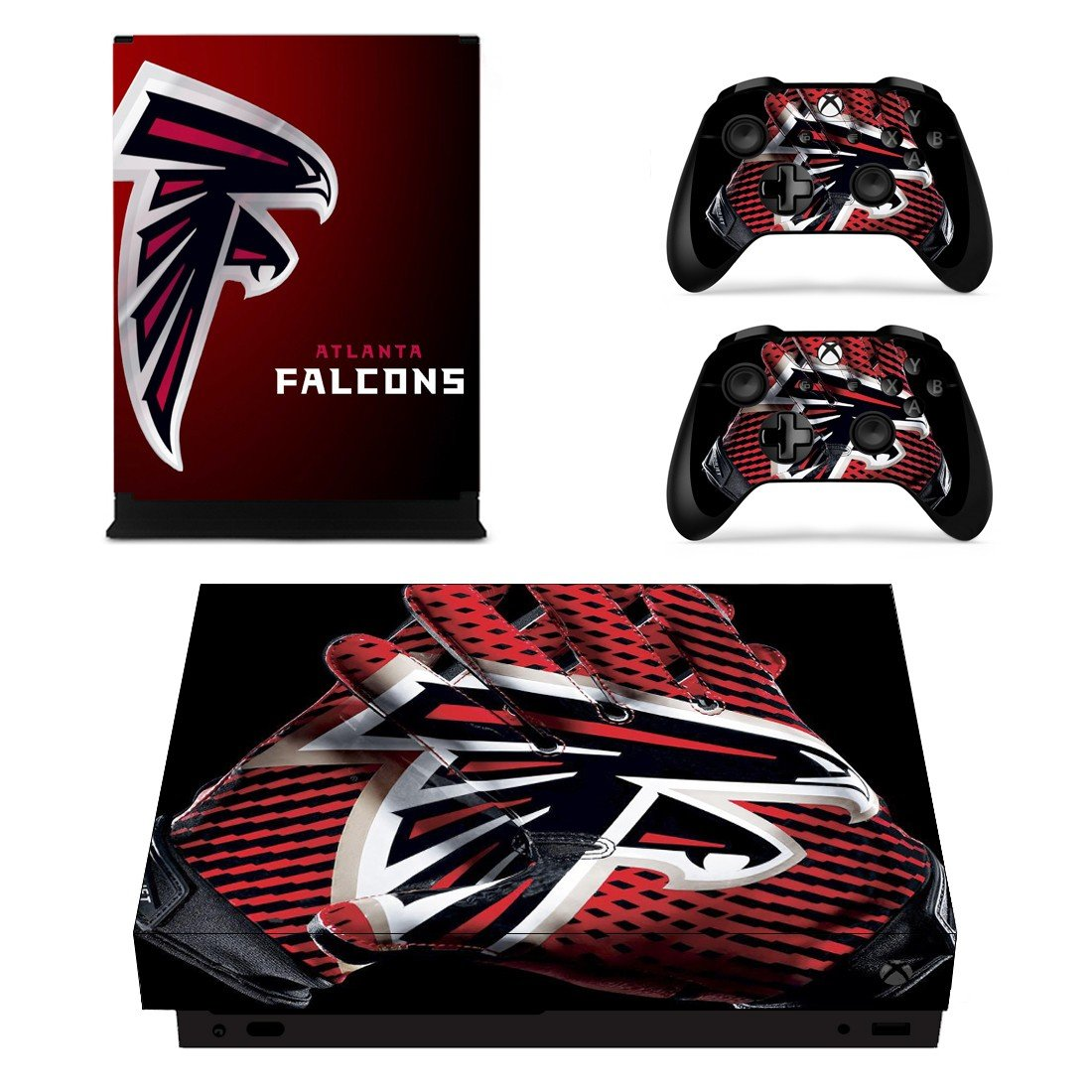 Atlanta Falcons decal skin sticker for Xbox One X console and controllers