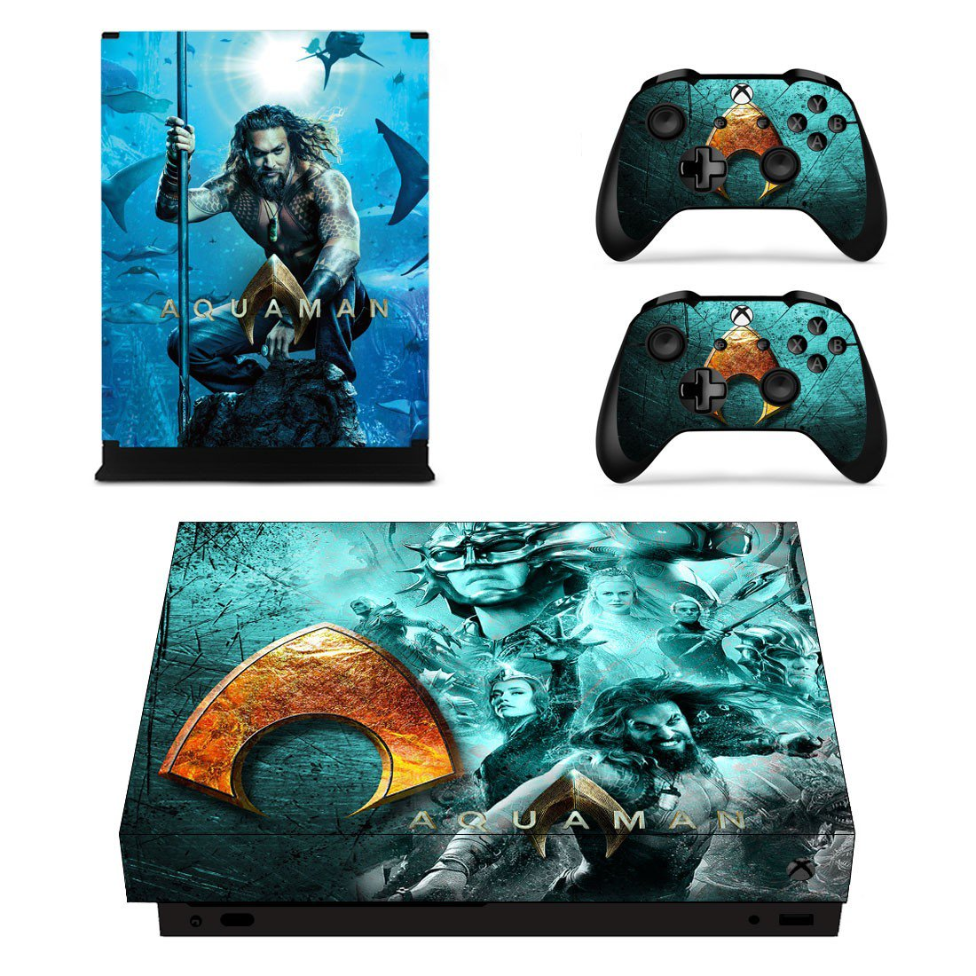 AquaMan decal skin sticker for Xbox One X console and controllers