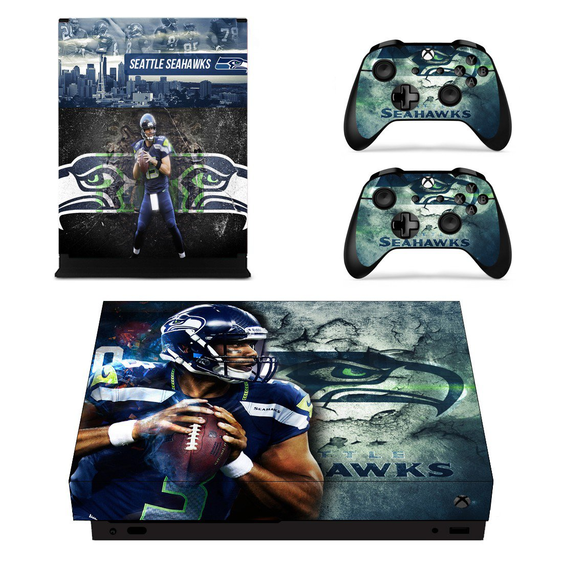 Seattle Seahawks decal skin sticker for Xbox One X console and controllers