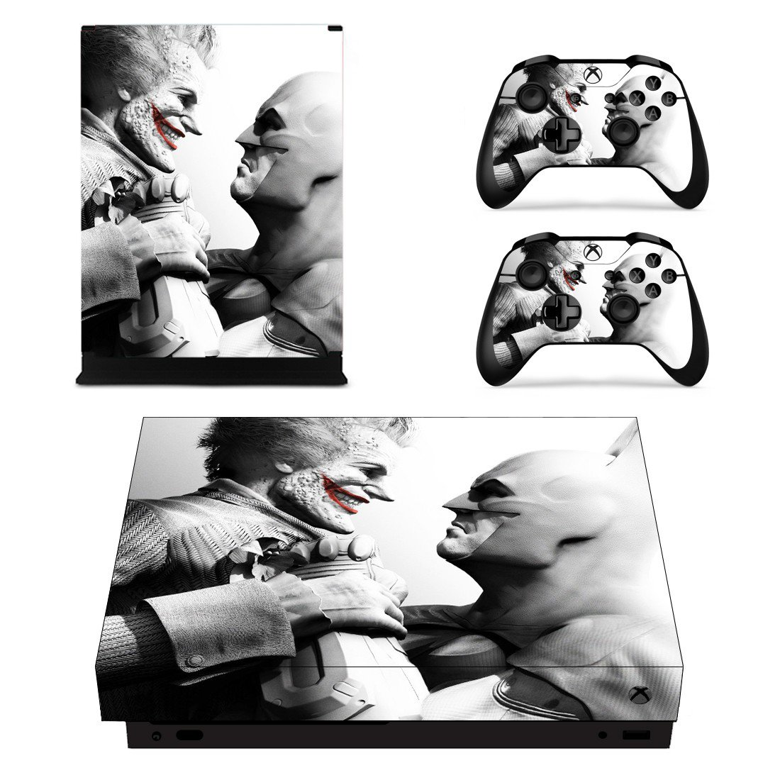 Batman and Joker decal skin sticker for Xbox One X console and controllers