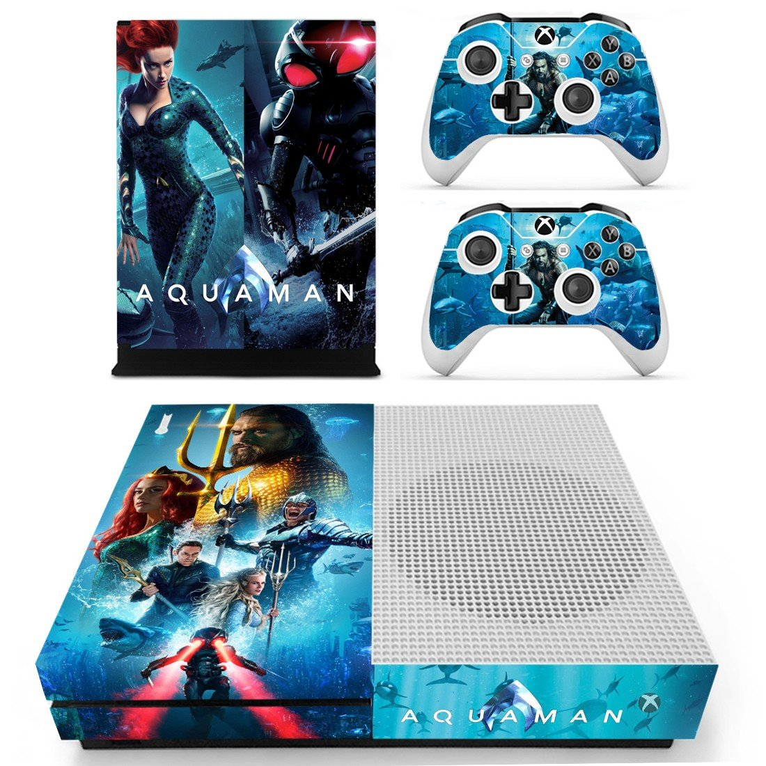 AquaMan decal skin sticker for Xbox One S console and controllers